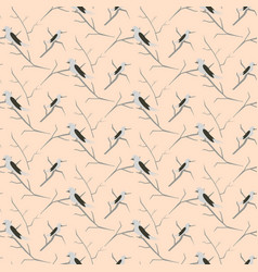 Birds on branches light pink cute pattern seamless vector