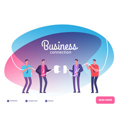 Business teams connect plug businessmen vector