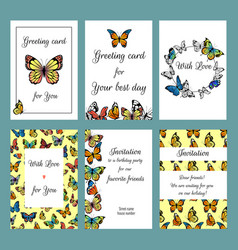 cards with butterflies design template of vector image