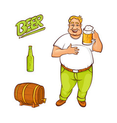 cartoon beer lover and symbols set vector image