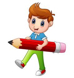 Cartoon boy holding a pencil vector