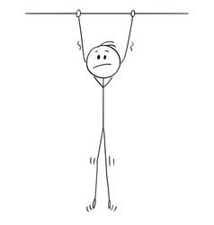 Cartoon unhappy man hanging high vector