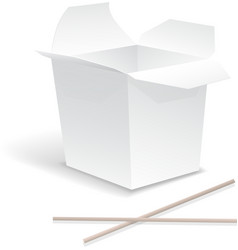 Chinese food opened white take out noodle box vector image