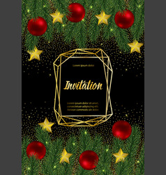 Christmas and new year invitation card with gold vector