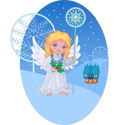 Christmas cute angel with star staff vector