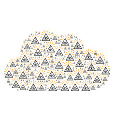 Cloud composition of total control eye pyramid vector