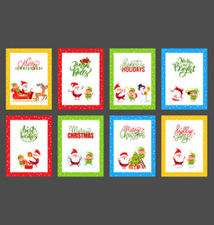 collection of christmas cards with cute santa vector image