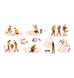 Collection of male and female archaeologists vector