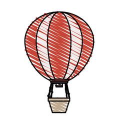 Color crayon stripe hot air balloon vector