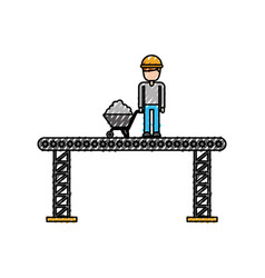 Construction worker standing platform with vector