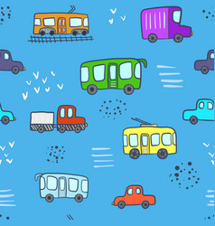 cute blue pattern with cartoon city transport vector image