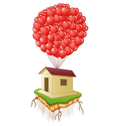 cute flying house with red heart balloons vector image