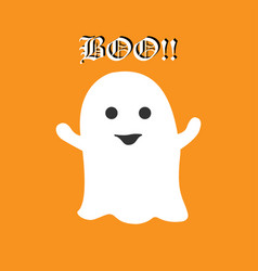 Cute halloween ghost saying boo on orange vector