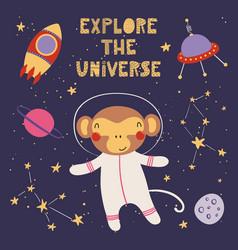 Cute monkey in space vector