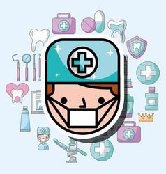 dentist boy cartoon dental care professional vector image