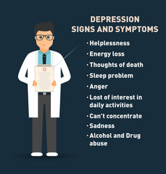 Depression signs and symptoms doctor with medical vector