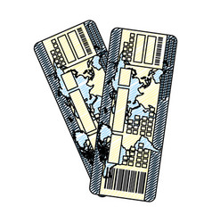 Doodle tourist tickets travel airplane vacation vector