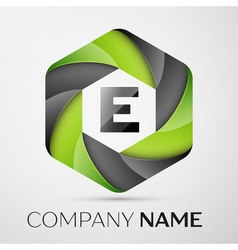 E Letter colorful logo in the hexagonal on grey vector