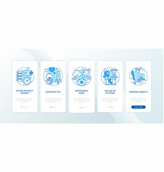 Early child development blue onboarding mobile vector