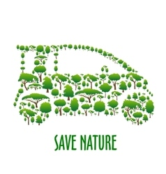 Ecological car symbol composed of green trees vector