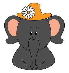 elephant wearing a hat with flower on white vector image