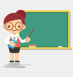 female teacher at blackboard vector image