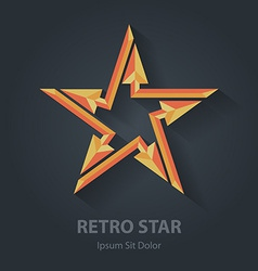 Flat color 3d Retro star logo Sport international vector