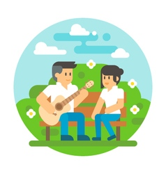 Flat design couple playing guitar vector
