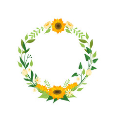 floral wreath with sunflowers circle frame with vector image
