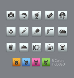 food icons - set 2 of 2 - satinbox series vector image