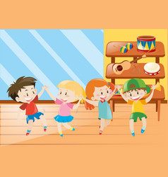 Four kids having fun in music class vector