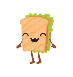 funny sandwich with smiling face cute fast food vector image