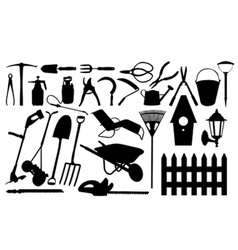 gardening tools collage vector image vector image