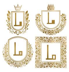 golden vintage monograms set heraldic logos l vector image
