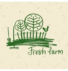 hand drawn logo fresh farm Lettering logo vector image