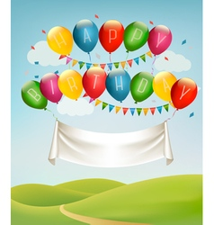 Happy birthday banner with balloons and landscape vector image