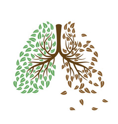healthy and unhealthy lungs concept vector image