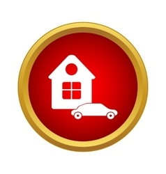 House and car icon simple style vector