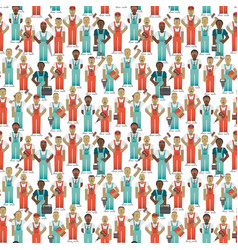 Industrial workers seamless pattern vector