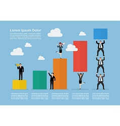 Infographic of business teamwork with bar chart vector