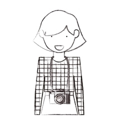 Isolated hipster girl design vector