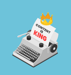 isometric typewriter with a crown and words vector image