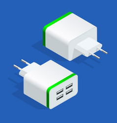 Isometric usb electric power socket ac outlet usb vector