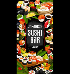 Japanese sushi bar and cuisine vector
