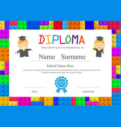 Kids diploma preschool elementary school design vector