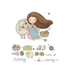 Knitting girl and a cute cartoon sheep handmade vector