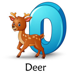 Letter d is for deer cartoon alphabet vector