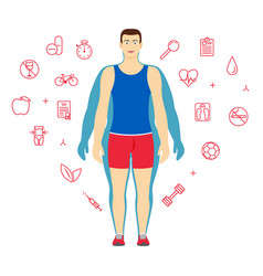 Man body transformation concept man before and vector
