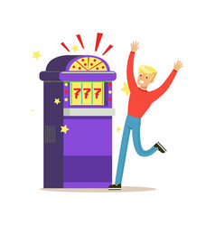 Man winning jackpot at slot machine colorful vector