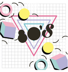 Memphis style pattern 80 design geometric shape vector